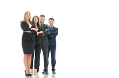 Successfull busines team isolated on white background. Team of successful and confident people posing on a white background. Close up shoot Royalty Free Stock Photo