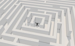 Successfull businessman in maze. Businessman finds the solution to the victory. High resolution 3d render with global illumination Stock Image