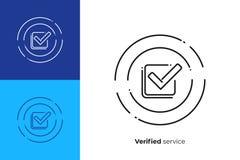Check mark line art vector icon stock illustration