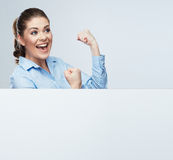 Successfull young business woman portrait out the blank white b Stock Photography