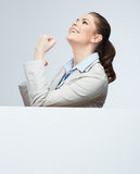 Successfull young business woman portrait out the blank white b Royalty Free Stock Photos