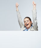 Successfull young business woman portrait out the blank white b Royalty Free Stock Photo