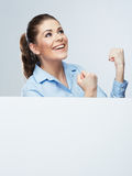 Successfull young business woman portrait out the blank white b Stock Image