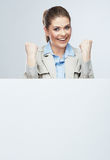 Successfull young business woman portrait out the blank white b Stock Photos