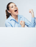 Successfull young business woman portrait out the blank white b Royalty Free Stock Image