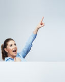 Successfull young business woman portrait out the blank white b Stock Photo