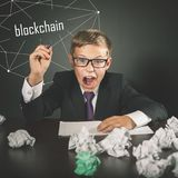 Successfully boy earning money with bitcoin cryptocurrency. stock images