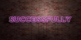 SUCCESSFULLY - fluorescent Neon tube Sign on brickwork - Front view - 3D rendered royalty free stock picture. Can be used for online banner ads and direct Stock Photo