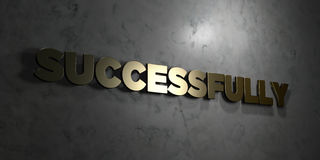 Successfully - Gold text on black background - 3D rendered royalty free stock picture. This image can be used for an online website banner ad or a print Stock Photo