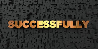 Successfully - Gold text on black background - 3D rendered royalty free stock picture. This image can be used for an online website banner ad or a print Royalty Free Stock Photo