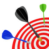 Successfully hit the target. 3D image. On a white background Royalty Free Stock Photos