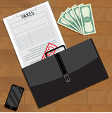 Successfully paid taxes top view. Tax return and vector form taxation, accounting 1040 tax form illustration Stock Photo