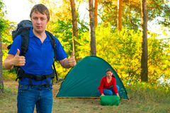 Successfully rested couple with tent. On the nature Stock Images