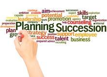 Successie de wolkenhand van het Planningswoord het schrijven concept stock afbeelding