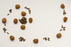 Succession aurea of nuts and rod Stock Photo