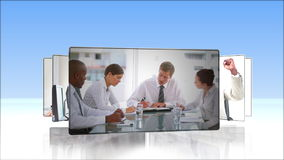 Succession of business people videos at work Royalty Free Stock Photography