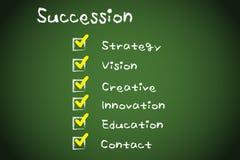 Succession. Composition on the blackboard Stock Photo