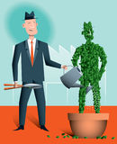 Succession planning. A businessman is nurturing a topiary version of himself which is growing in a pot. There's a factory in the background. This stock illustration