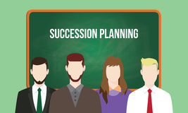 Succession planning concept in a team illustration with text written on chalkboard. Vector Royalty Free Stock Photography