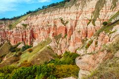 Red clays with dinosaur fossils. Geological reserve. Succession of red and white clays with dinosaur fossils. Geological reserve of Rapa Rosia, Romania Royalty Free Stock Photography