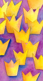 Succession royal abstract vertical watercolor painting. With golden yellow crown shapes on purple magenta and blue background Royalty Free Stock Images