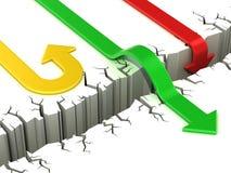 successo delle frecce 3d o concetto di guasto illustrazione di stock