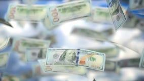 Successo di affari che piove il dollaro americano degli Stati Uniti video d archivio