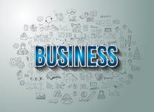 Successo di affari con stile di progettazione di scarabocchio Fotografia Stock