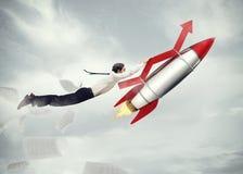Successo di affari di decollo rappresentazione 3d Immagini Stock
