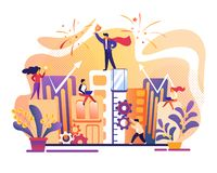 Successo di affari La gente dell'ufficio che lavora insieme royalty illustrazione gratis