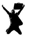 Successo di energia del vincitore dell'uomo della siluetta Immagini Stock Libere da Diritti