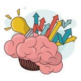 Successo di sviluppo della freccia della luce di lampadina del cervello umano royalty illustrazione gratis