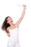 Successo felice del vincitore che cucina donna fotografia stock libera da diritti