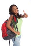 Successo felice della ragazza adolescente del banco dell'afroamericano Fotografia Stock Libera da Diritti