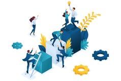 Successo isometrico del gruppo teamwork Insieme La gente miniatura scala Concetto per web design illustrazione vettoriale