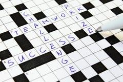 Successo, lavoro di squadra, sfida, parole incrociate premiate. Fotografie Stock Libere da Diritti