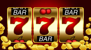 777 - Successo nello slot machine Fotografia Stock