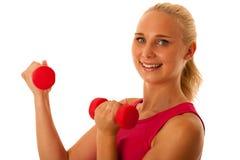 Successo sano di sport di stile di vita - allenamento biondo adatto della donna con la d Immagini Stock Libere da Diritti