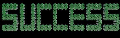 SUCCESSO scritto con i simboli di dollaro 3D che fanno le lettere 3d rendono Immagine Stock