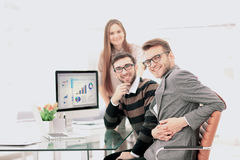 Successul business team working in an modern sunny office. Analy Stock Image