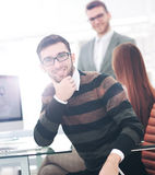 Successul business team working in an modern sunny office. Analy Stock Photo