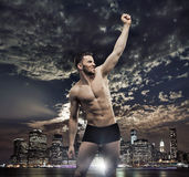 Successul man over the night city background. Successul man over the night night background Royalty Free Stock Photography