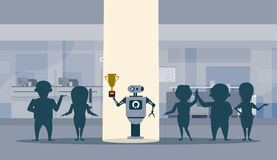 Successul Robot Standing In Spot Light Holding Golden Cup Winner Artificial Intelligence Concept. Flat Vector Illustration Royalty Free Stock Photography