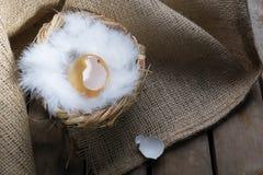 Successymbool of Gelukkig Pasen-Concept Leeg Gebroken Groot Gouden Ei op een rustieke houten natuurlijke achtergrond stock foto's