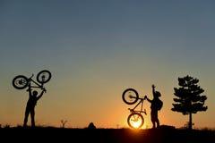 Succesvol fietserteam stock fotografie
