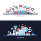 Succesvol Team, Onze het Conceptenbanners van het Bureau Vlakke Ontwerp, Geplaatste Kopballen Royalty-vrije Stock Foto's