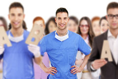 Succesvolle arts die een groep leiden Stock Afbeeldingen