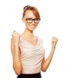 Succesvolle bedrijfsvrouw met omhoog wapens royalty-vrije stock fotografie