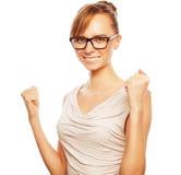 Succesvolle bedrijfsvrouw met omhoog wapens Royalty-vrije Stock Afbeelding
