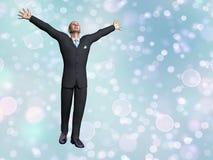 Succesvolle 3D zakenman - geef terug Stock Foto